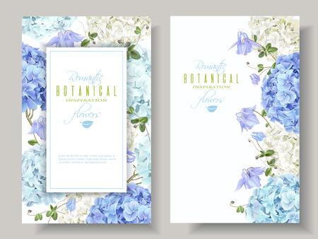 Bannières d'hortensia bleues