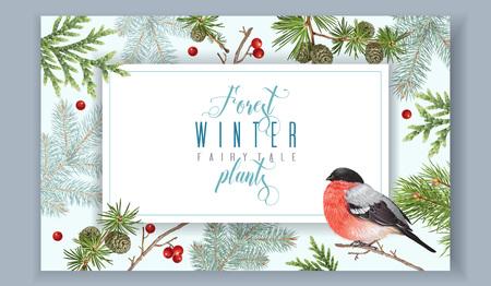 Bannière automne hiver bullfinch Banque d'images - 87929004