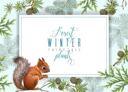 Winter squirrel horizontal banner Ilustracja