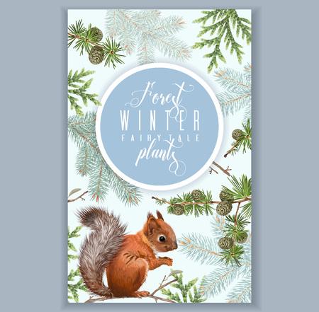 Winter squirrel vertical banner Illustration