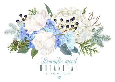 enebro: Composición de flores románticas