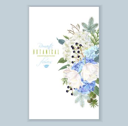 紫陽花冬垂直バナー  イラスト・ベクター素材