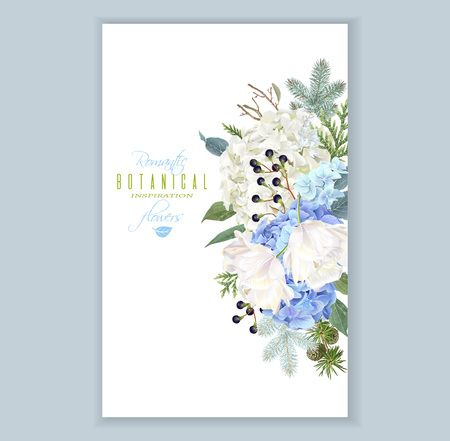 Hidrangea winter vertical banner Illustration