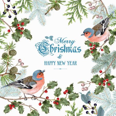 Bird christmas big frame  イラスト・ベクター素材