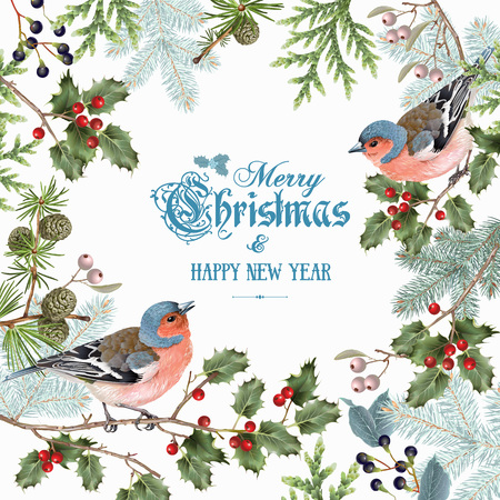 Bird christmas big frame Ilustra��o