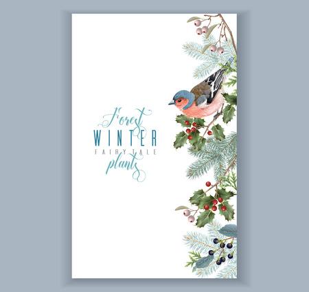 Bird winter border 일러스트