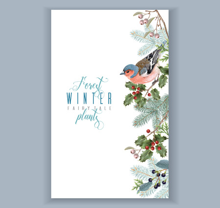 Bird winter border Illustration
