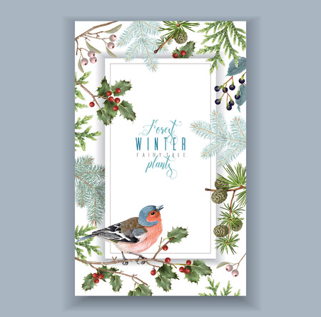 Bird winter frame 일러스트