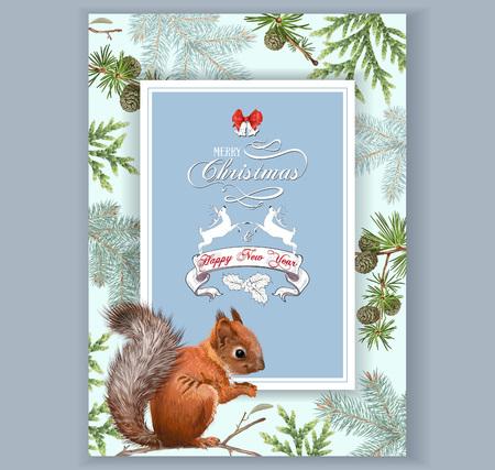 Weihnachten Eichhörnchen-Rahmen Standard-Bild - 88597987