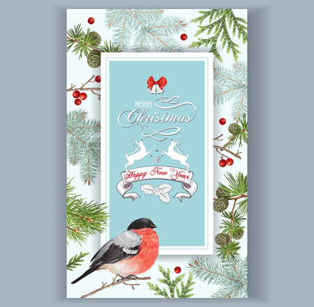 Weihnachten Dompfaff Rahmen Standard-Bild - 88597988