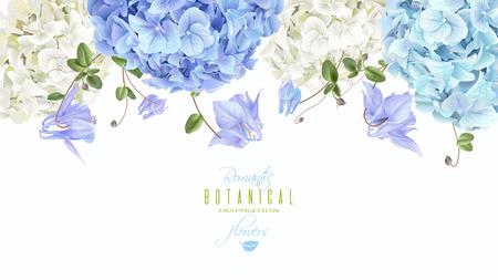 Hidrangea horizontal border blue