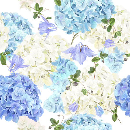 Hidrangea blue pattern 矢量图像