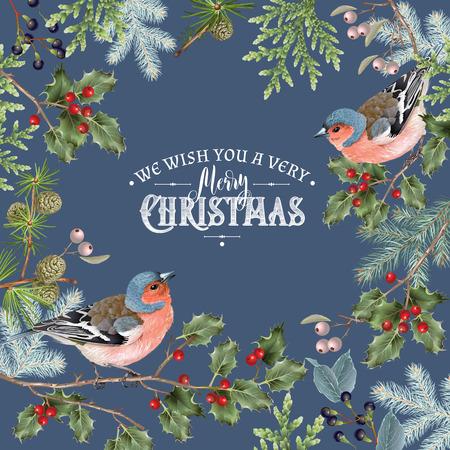 Bird christmas big frame dark Imagens - 89454096