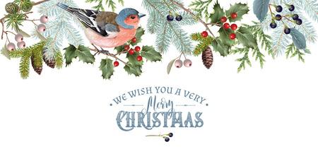 鳥クリスマス国境  イラスト・ベクター素材