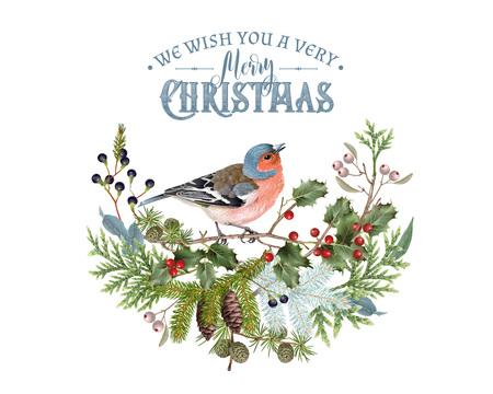 Bird winter composition