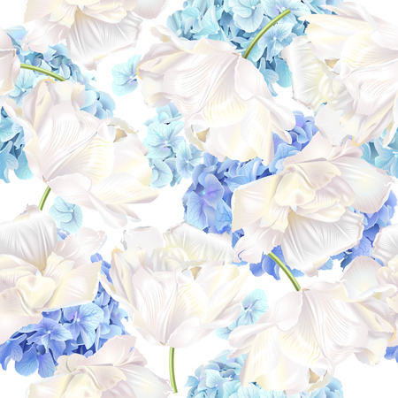 Hidrangea tulip blue pattern Stock Photo