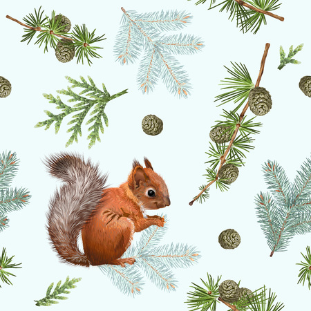 Winter squirrel pattern 版權商用圖片 - 89454475