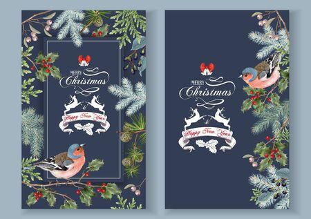 Bird christmas banners Ilustração