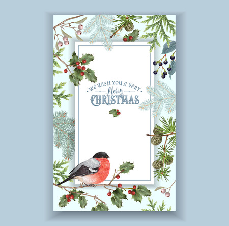 Bullfinch Christmas frame Ilustrace