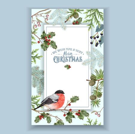 Bullfinch Christmas frame Illustration