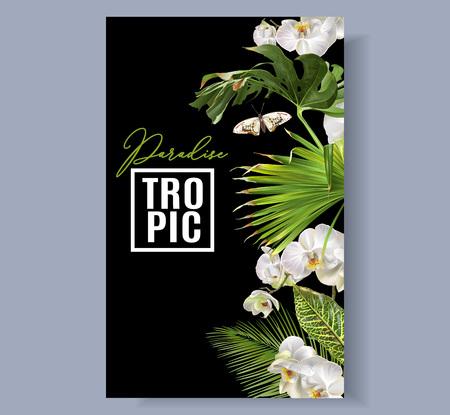Tropische orchidee grens Stock Illustratie