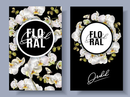 Floral orchid banners