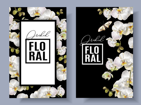 Floral orchid vertical banners Ilustracja
