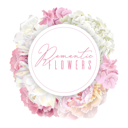 Peony pink round banner Vector illustration.