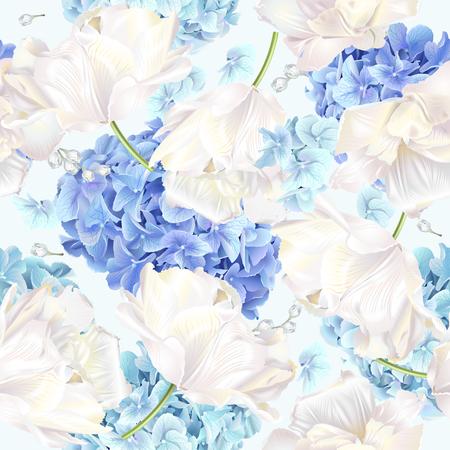 Patrón transparente de vector con flores de hortensias azules y blancas sobre fondo azul. Diseño floral para cosméticos, perfumes, productos de belleza. Se puede utilizar como tarjeta de felicitación, invitación de boda