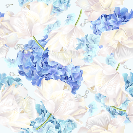 Vector seamless pattern with blue and white hydrangea flowers on blue background. Floral design for cosmetics, perfume, beauty care products. Can be used as greeting card, wedding invitation