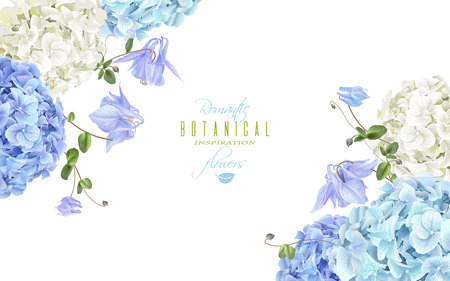 Hydrangea corner banner blue Illustration