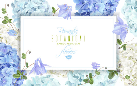 Vector horizontal banner with blue and white hydrangea flowers on white background. Floral design for cosmetics, perfume, beauty care products. Can be used as greeting card, wedding invitation