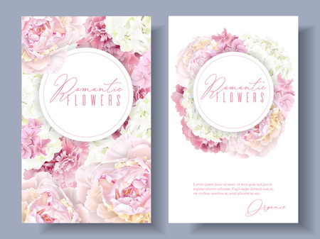 Peony pink banners Illustration