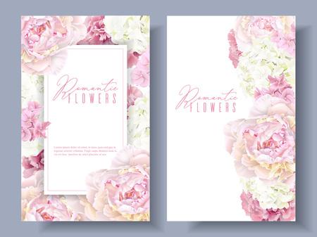 Peony pink banners  イラスト・ベクター素材