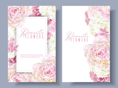 Peony pink banners 일러스트