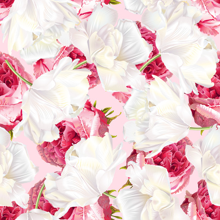 Rose tulip seamless pattern