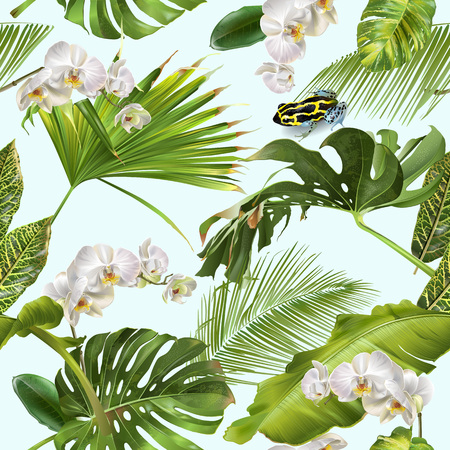Tropical orchid frog pattern