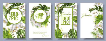 Vector botanical vertical banners set with tropical leaves, orchid flowers and butterflies on white. Design for cosmetics, spa, health care products, travel company. Can be used as summer background