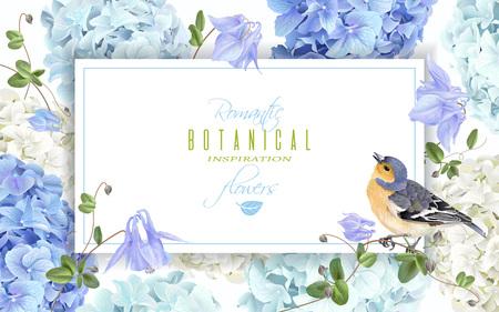 Romantic garden frame design Ilustração