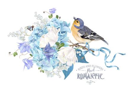 Hydrangea spring composition with flowers and bird Zdjęcie Seryjne - 95655497
