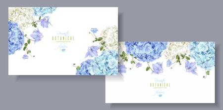 De hortensia bloeit horizontaal bannersblauw
