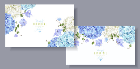 Hortensia fleurs bannières horizontales bleu