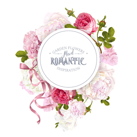 Romantic garden round banner with flowers