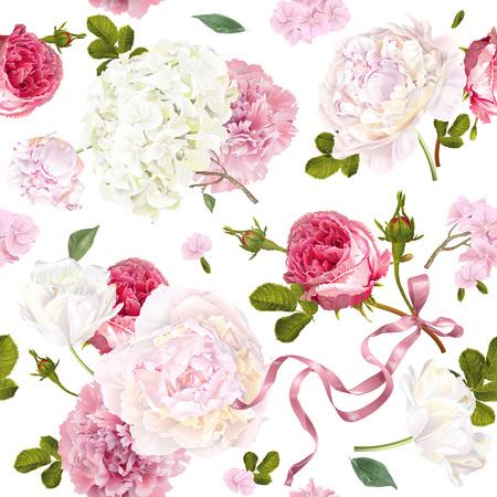 Romantic garden flowers pattern Vettoriali