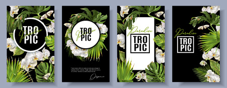 Tropic orchid banners set