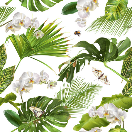 Tropical orchid white pattern