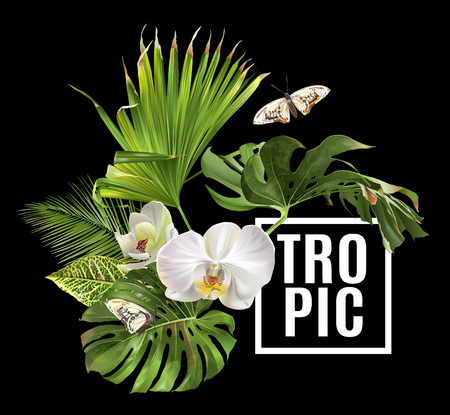 Vector botanical banner with tropical leaves orchid flowers and butterfly on black background. Design for cosmetics, spa, health care products, travel company. Can be used as summer background
