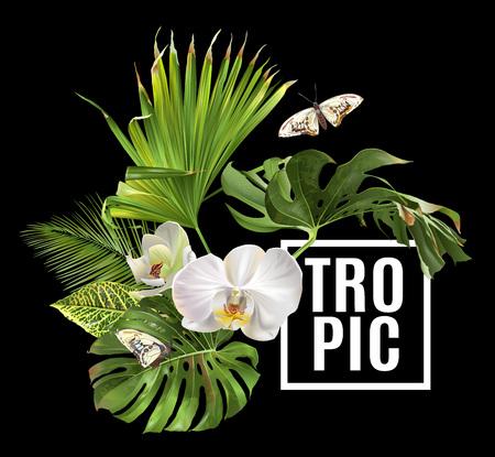 Vector botanische Fahne mit tropischen Blattorchideenblumen und -schmetterling auf schwarzem Hintergrund. Design für Kosmetik, Spa, Gesundheitspflegeprodukte, Reiseunternehmen. Kann als Sommerhintergrund verwendet werden Standard-Bild - 95674239