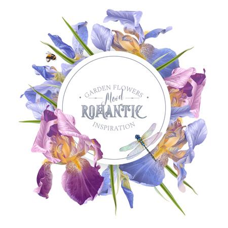 Garden flowers in round frame or banner
