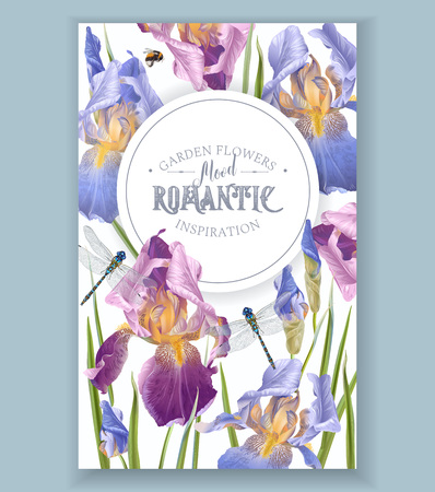 Garden flowers vertical banner or poster